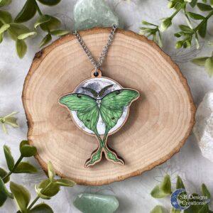 Luna Moth Maanvlinder Actias Luna Houten ketting Fantasy