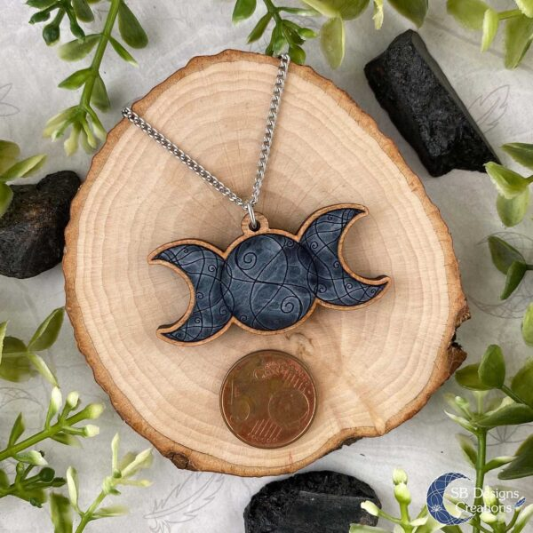 Maan Ketting Triple Moon grijs SB Designs Maan Magie