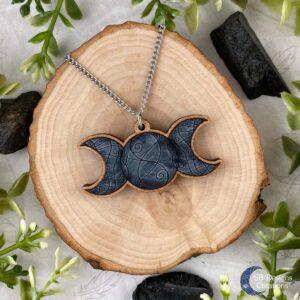 Maan Ketting Triple Moon grijs SB Designs Pagan Sieraden