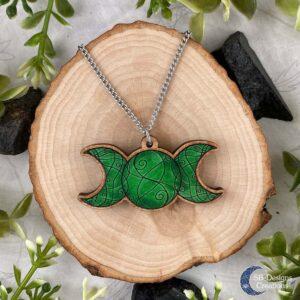 Triple Moon Groen Ketting Drievoudige Maan Magie-spiritualiteit
