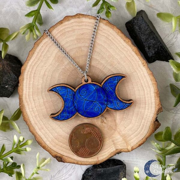 Triple Moon Ketting Drievoudige Maan Blauw Heks Spirituele Sieraden-2