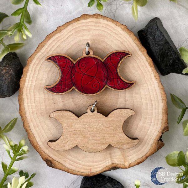 Triple moon rood Drievoudige Maan Houten Natuurketting Maanenergie