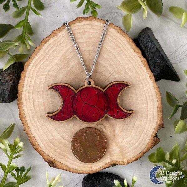 Triple moon rood Drievoudige Maan afmeting ketting