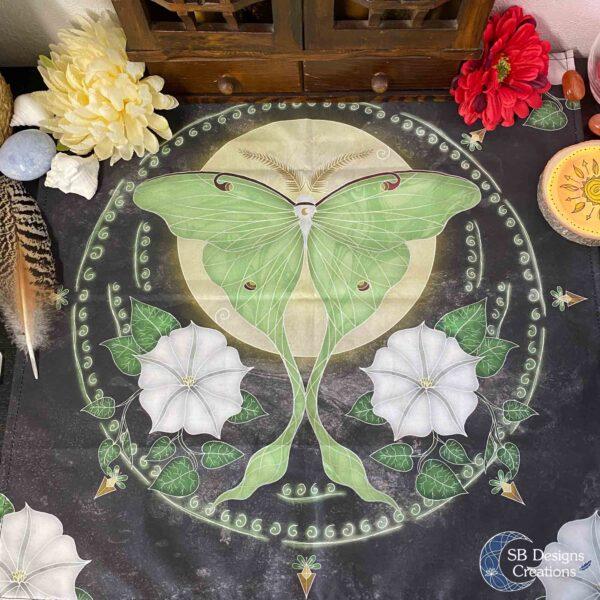 Luna Mot Maanbloemen Vierkant Kleed SB Designs Creations
