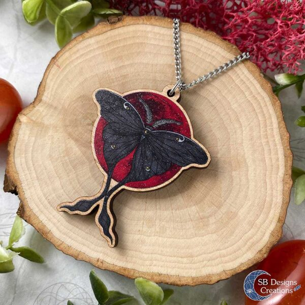Luna Moth Bloodmoon Spiritual Wooden Necklace