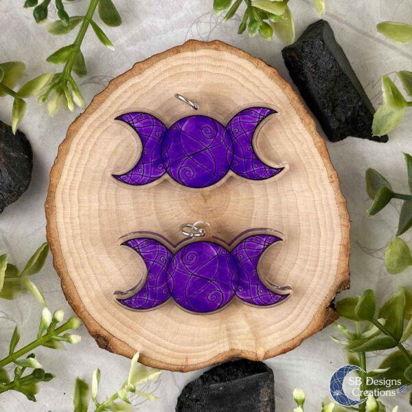 Triple Moon Acryl Paars Moonchild Maanmagie SB Designs Creations Voor en Achterzijde