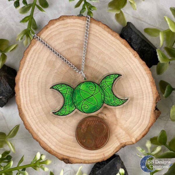 Triple Moon Ketting Groen Drievoudige Maansymbool Acryl Afmeting