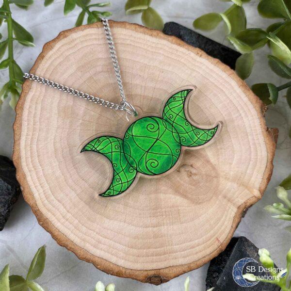 Triple Moon Ketting Groen Drievoudige Maansymbool Acryl SB Designs Creations
