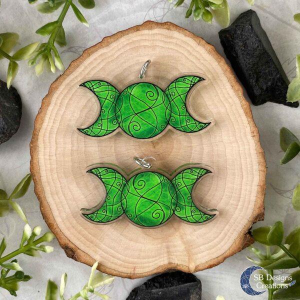 Triple Moon Ketting Groen Drievoudige Maansymbool Acryl Voor en Achterzijde