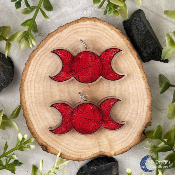Triple Moon Red Drievoudige Maan Rood Acryl Ketting-4